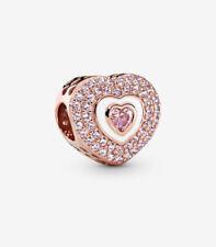Pandora Pink Pave Heart Charm 788097NPR 14k Rose Gold Plate Sterling Silver $115