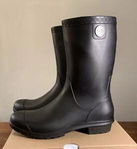 UGG SIENNA MATTE BLACK WATERPROOF RUBBER WOMEN'S RAIN BOOTS SIZE 9 1100510 NEW