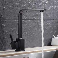 Modern Square Black Matte Kitchen Sink Mixer Faucet Swivel Vessel Tap Deck Mount
