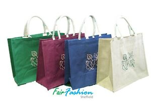 Jute Hessian Colourful Shopping Bag  with Pattern ( Large ) - 100% Natural