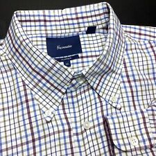 FACONNABLE Mens XL White Blue Maroon Plaid Twill Long Sleeve Button-Down Shirt