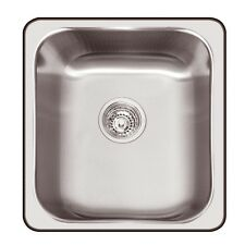 Abey HAWKSBURY STAINLESS STEEL SINGLE SINK 406x466mm,200mm Deep*Australian Brand
