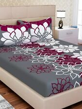 Gray & Pink Floral Print Cotton Double Size Bed Sheet with 2 Pillow Covers Set