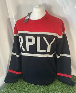 Replay Mens Designer Black Red Logo Jumper Wool Alpaca  Mix Large BNWT - A82