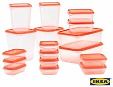 PRUTA Food container, set of 17, transparent, orange