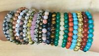 Crystal Gemstone Bead Bracelet Healing Chakra Anxiety stress Reiki Jewellerygift