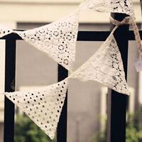 Blanc dentelle tissu de coton Vintage main triangle Bunting Banner-