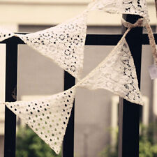 White Lace Cotton Fabric Vintage Handmade Triangle Bunting Banner - 10 Flags