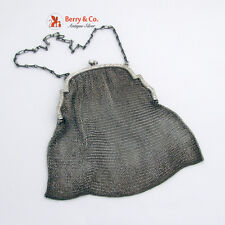 Antique Sterling Silver Mesh Purse with Chain