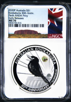 2020 30th Ann. Kookaburra 1oz Silver Coin Kangaroo Paw Privy NGC MS70 PERTH ANDA