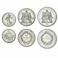 Lot de 3 Pièces Françaises en Argent 5 Francs Semeuse + 10 et 50 Francs Hercule