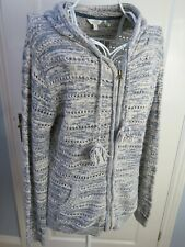 FAT FACE Cream Denim Hooded Cardigan Jacket 14 Pockets Long Knit Hoodie Relaxed
