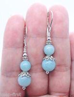 Fashion Genuine Blue Aquamarine Round 6mm & 10mm Dangle Silver Earrings