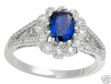 1.30ctw Diamond & Kyanite Solid 14k White Gold Ring