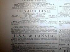 "April 1915 WW I London Times newspaper w LUSITANIA SINKING  ""phantom voyage"" ad"