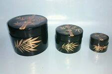 Set of 3 Handmade Bamboo Containers, Thailand
