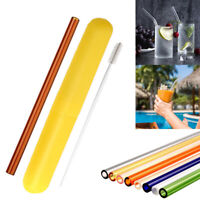 Reusable Glass Straw Party Drinking Straws Set+Cleaning Brush+Packing Box Gift