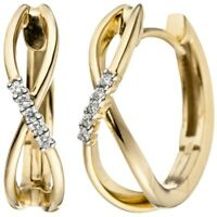Ohrringe Creolen 16,4x4,8mm mit 10 Diamanten Brillanten 585 Gold Gelbgold