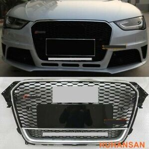 Fits Audi A4 S4 B8.5 2013 2014 2015 Grill RS4 Type Honeycomb Sport Grille Chrome