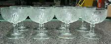 "8 Jeannette Iris & Herringbone tall footed sherbet bowls or champagne 4"""