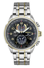 *BRAND NEW* Seiko Men's Two Tone Stainless Steel Case Black Dial Watch SSC508