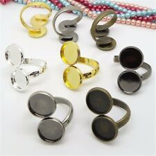 Adjustable Brass Rings With Double Base Tray Setting For Jewelry Making 5Colors