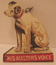 Old 1920s Celluloid Nipper Dog Advertising Stick Pin Cameron Piano Allentown TMP