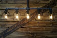 -Edison Age Industrial 5-Light Pendant Light, Steampunk Pipe Light. chandelier