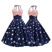 Women Retro Sling Rockabilly Flag Evening Party Vintage Swing Dress 4th of July