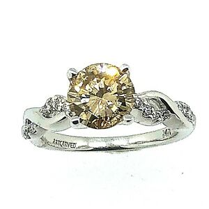 14 Kt White Gold Engagement Ring with Center Natural Cognac Diamond 1.79 TCW