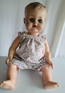 Vintage Hard Plastic Doll w/ Rubber Head Sleepy Eye Marked JC