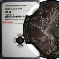 Guatemala Silver 1893 1/4 Real NGC MS64 LION LARGE DATE RAINBOW TONED KM# 159
