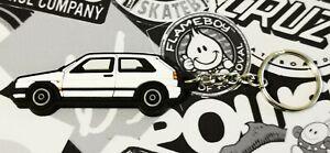 VW Golf Mk2 Gti 16v Rallye Key Ring White
