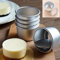 5Pcs Rond Mini Gâteau Moule Amovible Bas Pudding Moule Nonstick Cuisson Moules