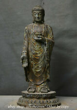 "10.8"" Old Tibet Bronze Temple Stand Shakyamuni Amitabha Buddha Bowl Sculpture"