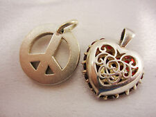 2 Sterlingsilber Anhänger Peace & Love Herzanhänger mit roten Steinen