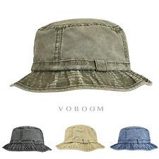 Distressed Cotton Bucket Hat Mens Vintage Fisherman Hunting Hiking Flat Cap HU
