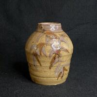 Vintage Stoneware Studio Art Pottery Bud Vase Hand Made Bamboo Design