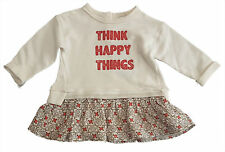 ZARA Baby Girls ORANGE IVORY Sweatshirt Layer Skater Dress 3-6m 68cm £15.99