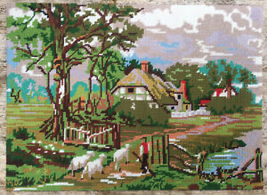 Vtg Completed Hand Embroidered Tapestry Twilleys Of Stamford Shepherd Returns