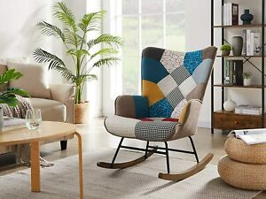 Solid Wood Rocking Chair Linen Fabric Nursery Armchair Accent Chair Nap Chair