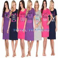 Ladies WOMENS Night Shirt Nightdress womens Nightie Nightshirt slogan COTTON