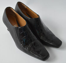 Ladies Van Dal Oban Black Leather & Moc Croc Patent Shoes Size Uk 5 D