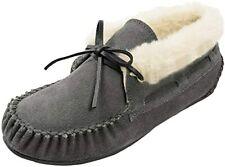 Minnetonka Women's Grey 100% Cow Suede Leather w/ Rubber Sole Slipper 9.5 B (M)