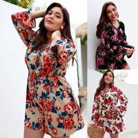 Plus Size Women Floral Printed Playsuit Romper Long Sleeve Casual Beach Jumpsuit