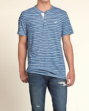NWT Hollister by Abercrombie Men Short Sleeve Striped Henley Logo T Shirt L Blue