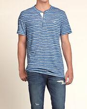 NWT Hollister by Abercrombie Men Short Sleeve Striped Henley Logo T Shirt L Blue