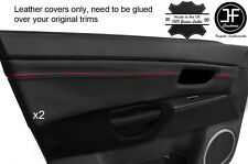 RED STITCH 2X FRONT DOOR CARD TRIM LEATHER COVERS FITS MAZDA 3 03-09 5 DOOR