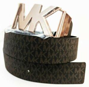 MICHAEL KORS Signature Reversible Belt Brown Black Faux Leather Rose Gold Sz S