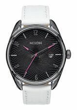 NWT Nixon Bullet Leather Watch Gunmetal White Mens Womens aa55